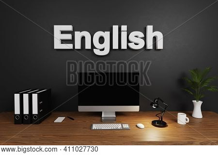 Modern Clean Office Workspace With Computer Screen And Dark Concrete Wall; English Lettering; Tutori