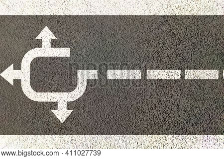 Three Way Direction After Rotation Painted On Road , Right Way Choise Confusion Concept