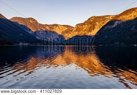 Evening On Hallstätter See, Lake In Upper Austria