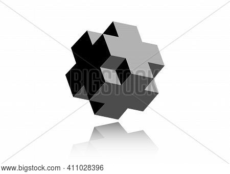 3d Necker Cube Cross Icon. Isometric Cube Logo Design Template. Science, Medicine Or Technological S