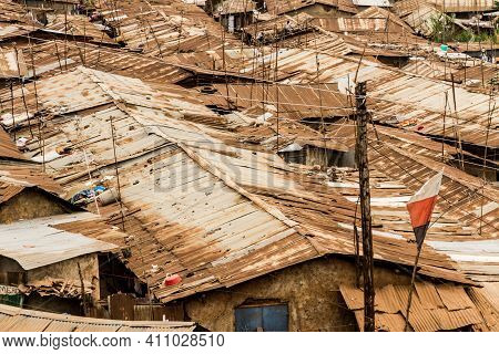 The Tin Roof Scape Of Some Of The Homes In The Kibera Slums Of Nairobi, Kenya.