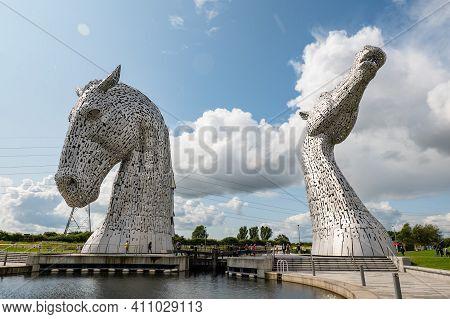 Falkirk, Scotland - August 13, 2019: Enormous Statue Of The Kelpies, Horses Heads In Falkirk, Scotla