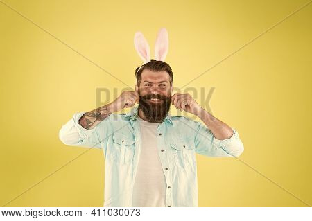 Proud Of His Moustache. Happy Hipster Twirl Moustache. Mister Rabbit Wear Long Beard And Moustache.