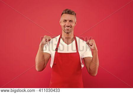 Cook Good Food At Home. Cafe Staff. Barista Worker. Man Cook Wear Apron. Cafe Bar Barista Job Positi