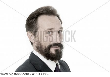 Businessman With Beard And Mustache. Caucasian Man With Beard Smiling. Bearded Man. Unshaven Busines