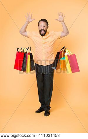 I Am Fed Up With Shopping. Common Thought Men Hate Shopping. Man Shouting Face Dropping Shopping Bag