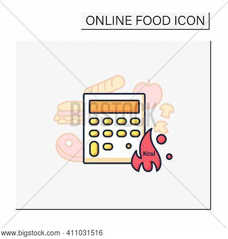 Calorie Calculator Color Icon. Online Food Counter. Healthy Eating. Calorie Count. Serving Size. Wei
