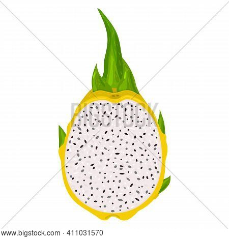 Fresh Half Cut Yellow Pitaya Fruits Isolated On White Background. Summer Fruits For Healthy Lifestyl