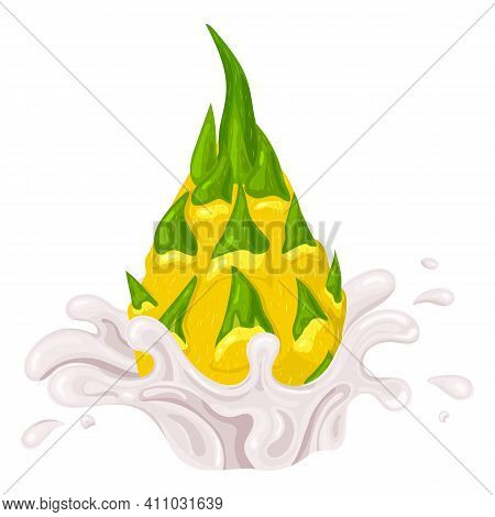Fresh Bright Yellow Whole Pitaya Juice Splash Burst Isolated On White Background. Summer Fruit Juice