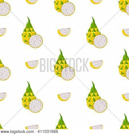 Seamless Pattern With Fresh Whole And Cut Yellow Pitaya Fruits Isolated On White Background. Summer