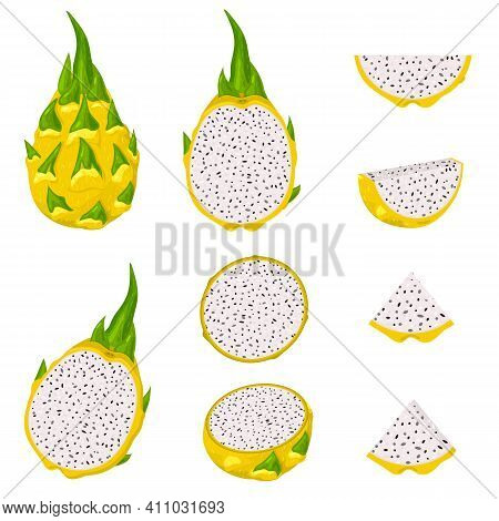 Set Of Fresh Whole, Half, Cut Slice Yellow Pitaya Fruits Isolated On White Background. Summer Fruits