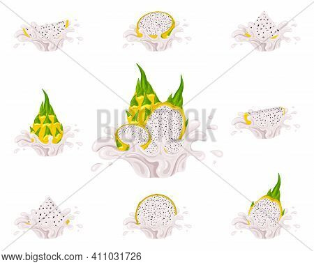 Set Of Fresh Bright Yellow Pitaya Juice Splash Burst Isolated On White Background. Summer Fruit Juic