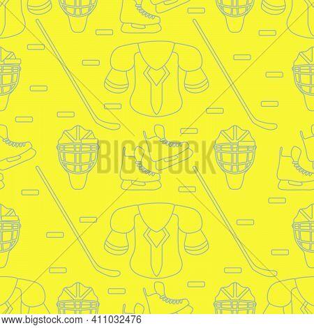Seamless Pattern With Skates, Goalkeeper Mask, Hockey Stick, Ice Hockey Puck, Hockey Shoulder Pads.
