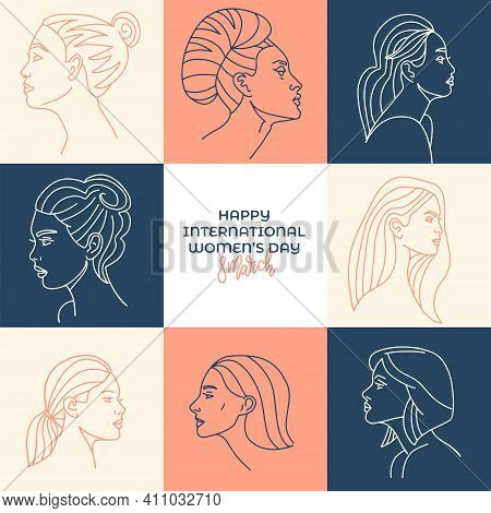 Pastel International Womens Day Illustration For Greeting Card. Collection Of Profile Portraits Of W