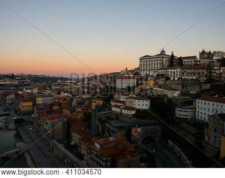Sunrise Panorama Of Historic Old Town Of Porto Ribeira District Douro Riverside Bank Waterfront In P