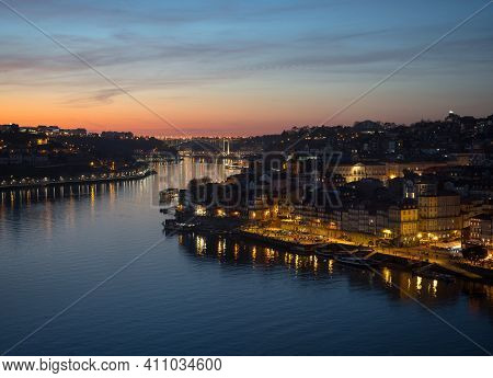 Sunset Panorama Of Historic Old Town Of Porto Ribeira District Douro Riverside Bank Waterfront In Po