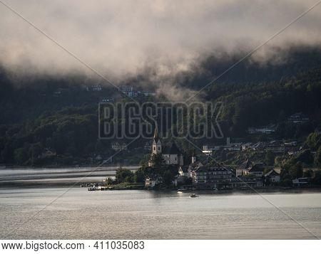 Panorama Of Catholic Pilgrimage Church Maria Woerth Rosenkranzkirche Alpine Mountain Lake Woertherse