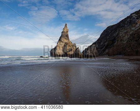 Panorama View Of Waves Crashing On Shore Of Praia Da Ursa Atlantic Coast Rocky Cliff Sand Beach Cabo