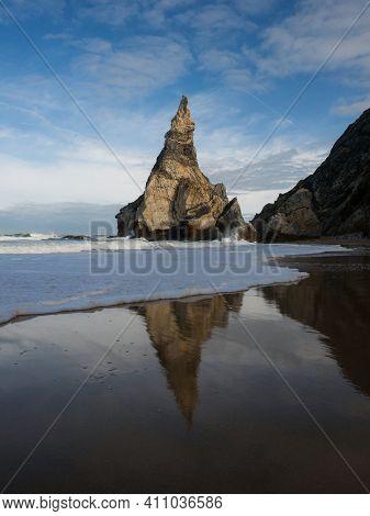 Mirror Reflection Foam Wave Panorama At Praia Da Ursa Atlantic Coast Rocky Shore Cliff Sand Beach Ca