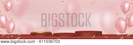 Podium Showcase Display With Balloon Flying On Red And Yellow Gold Cylinder Stand,vector Realistic 3