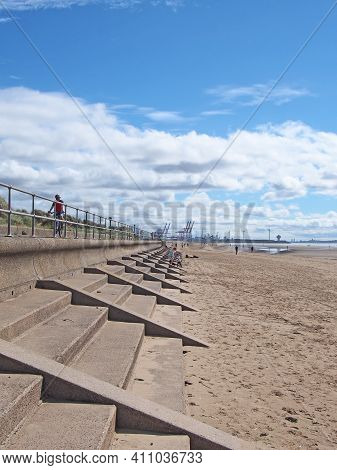 Southport, Merseyside, United Kingdom - 10 September 2020: People On The Beach At Blundell Sands In