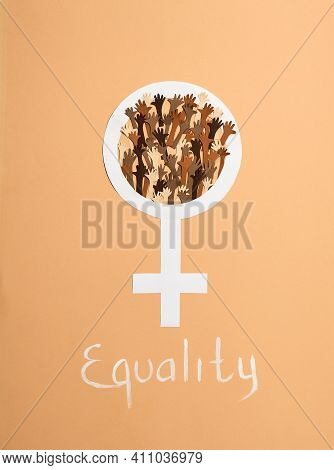 Gender Sign And Symbol Of Equality Of People Throughout The Earth. Equality Sign Between Man And Wom