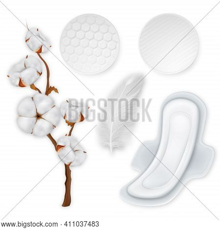 Cotton Hygiene Products Realistic Set. Soft Cotton Pads With Wings. Vector Illustration