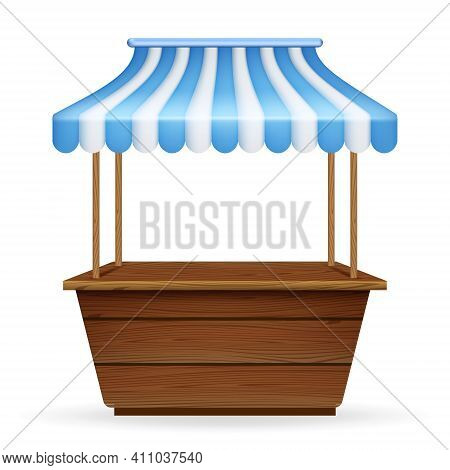 Vector Realistic Illustration Of Empty Market Stall With Blue And White Striped Awning. Mockup Of Wo