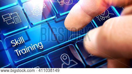 Skill Training Written On Blue Key Of Futuristic Keyboard. Skill Training - Futuristic Keyboard With