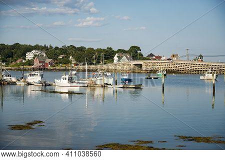 Boats On A Dock On The Maine Coast Fishing Port