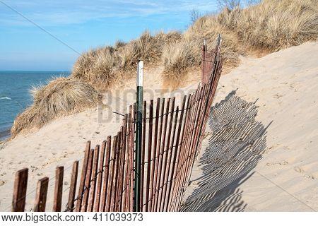 Beach Fence On Lake Michigan Sand Dune
