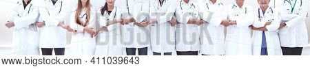 in full growth. doctors of the medical center standing together.
