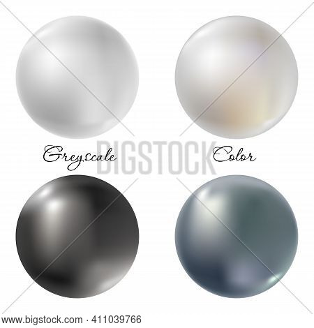 Pearl Gems Or Balls Set Isolated On White Background. 3d Effect White And Black Spheres With Natural