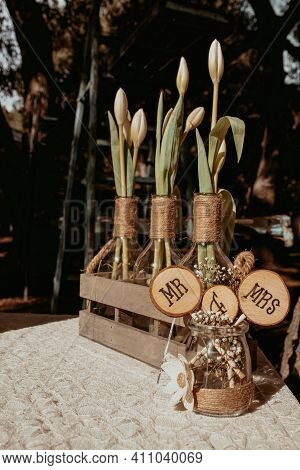 Mr And Mrs Sign On Wooden Logs, Vintage Wedding Table Decoration