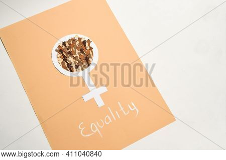 Gender Postcard Of Equality Of Men And Women. Sheet Of Paper With Gender Equality Between People And