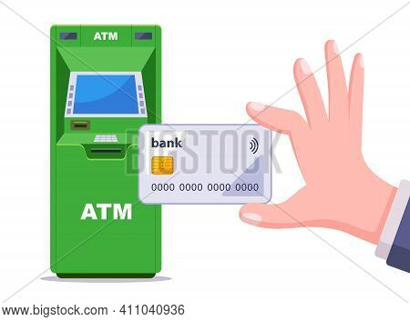 Withdrawing Cash From A Green Atm. Hand Holds A Plastic Credit Card. Flat Vector Illustration Isolat