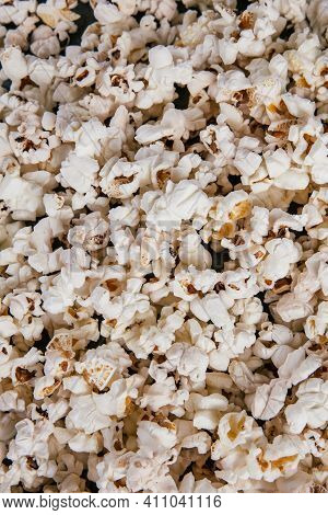 Close Up Of Popcorn, Popcorn Texture, A Lot Of Popcorn, Top View
