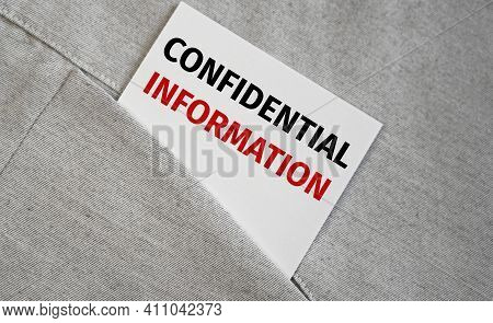 Confidential Information Text On Sticker. Business Concept.