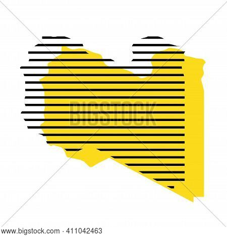 Libya - Yellow Country Silhouette With Shifted Black Stripes. Memphis Milano Style Design. Slimple F