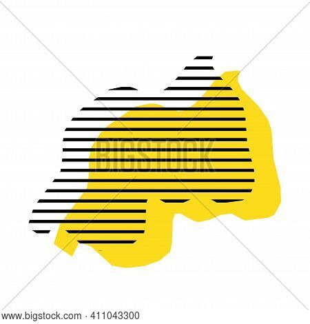 Rwanda - Yellow Country Silhouette With Shifted Black Stripes. Memphis Milano Style Design. Slimple