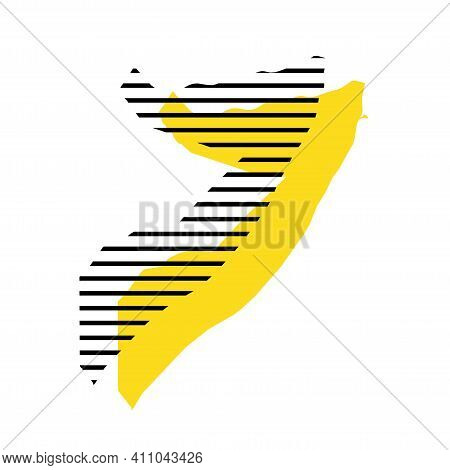 Somalia - Yellow Country Silhouette With Shifted Black Stripes. Memphis Milano Style Design. Slimple