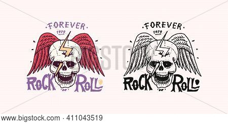 Skull With Zipper And Angel Wings. Cranium Op Braincase Or Deaths Head Badge. Rock And Roll Music Lo