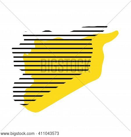 Syria - Yellow Country Silhouette With Shifted Black Stripes. Memphis Milano Style Design. Slimple F