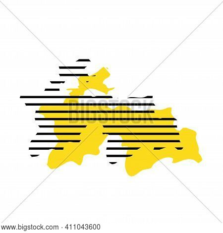 Tajikistan - Yellow Country Silhouette With Shifted Black Stripes. Memphis Milano Style Design. Slim