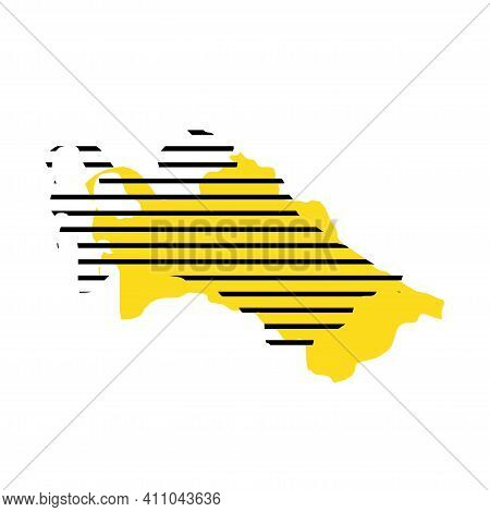 Turkmenistan - Yellow Country Silhouette With Shifted Black Stripes. Memphis Milano Style Design. Sl