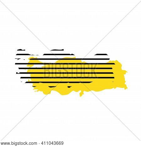 Turkey - Yellow Country Silhouette With Shifted Black Stripes. Memphis Milano Style Design. Slimple