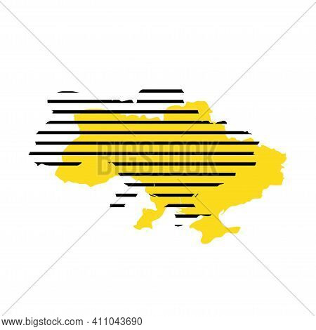 Ukraine - Yellow Country Silhouette With Shifted Black Stripes. Memphis Milano Style Design. Slimple