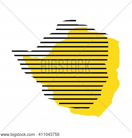 Zimbabwe - Yellow Country Silhouette With Shifted Black Stripes. Memphis Milano Style Design. Slimpl