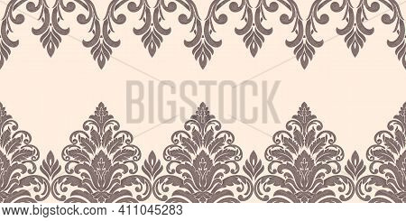 Vector Damask Border Element And Page Decoration. Classical Luxury Border Decoration Pattern. Seamle