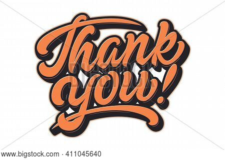 Vector Hand Drawn Lettering Thank You With Soft Shadow And Emboss. Elegant Modern Handwritten Callig